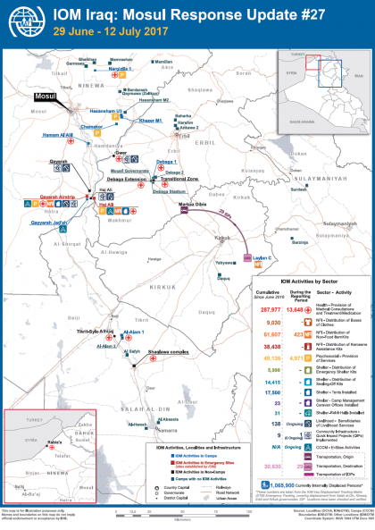 IOM Iraq Mosul Response Update #27 cover - map
